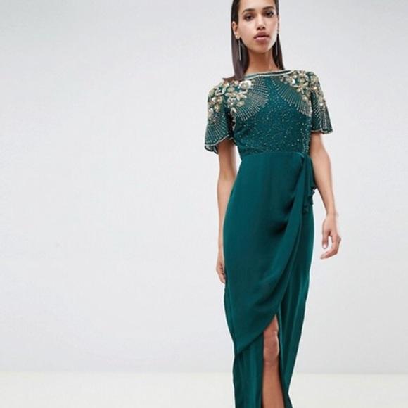 173562f39dd ASOS Virgos Lounge ariann dress emerald green